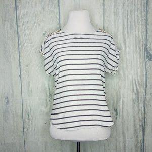 A'gaci black & white striped blouse small